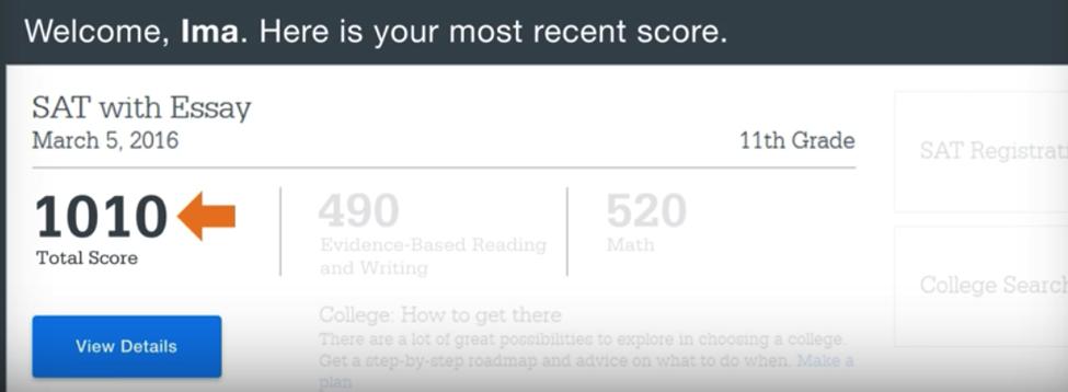 SAT Score Report