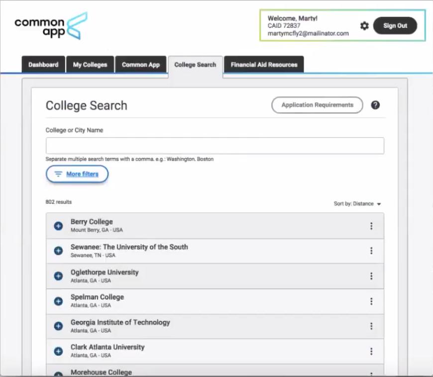Common App College Search