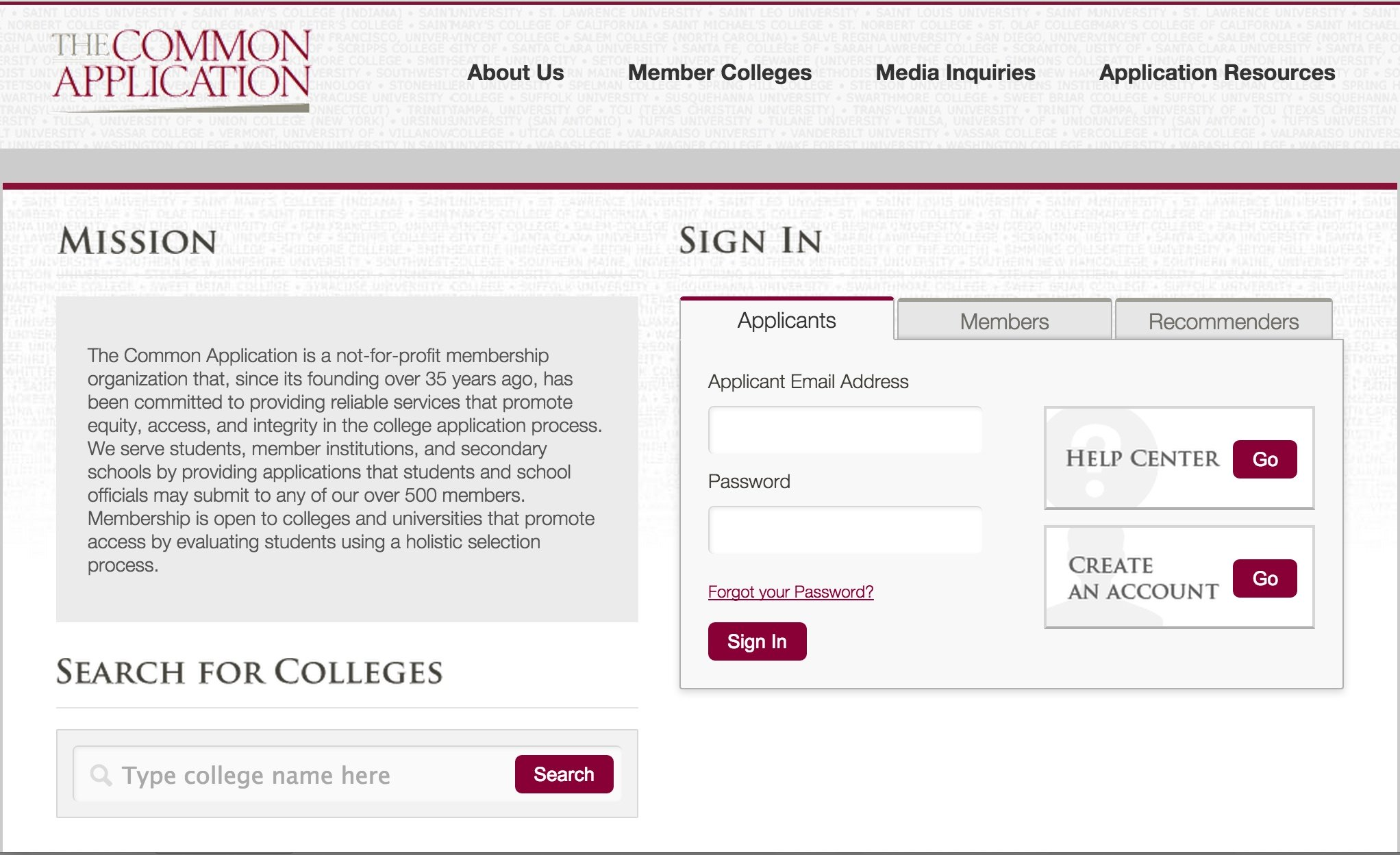 Common Application Changes 2015