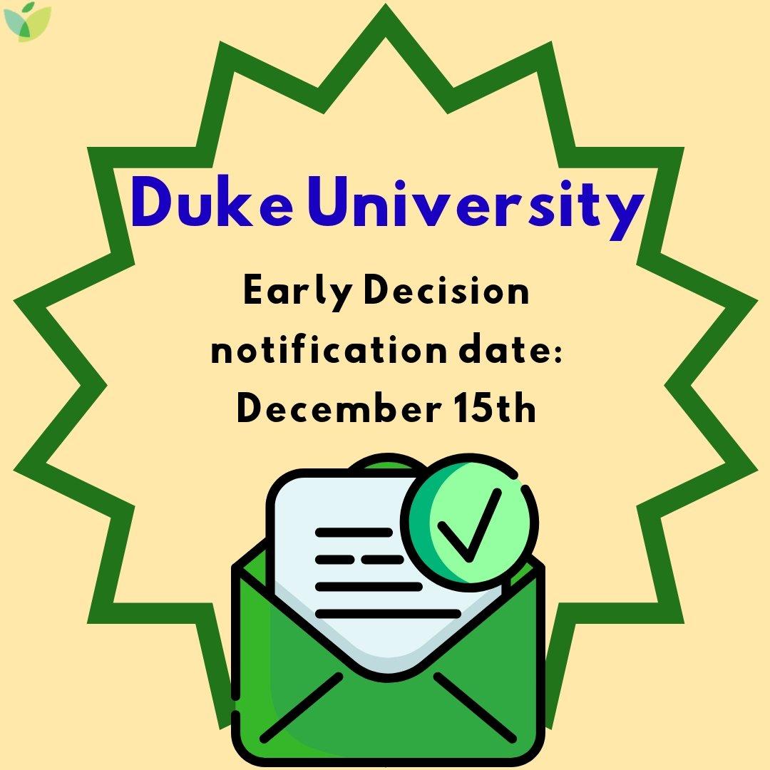 Duke university early decision notification date
