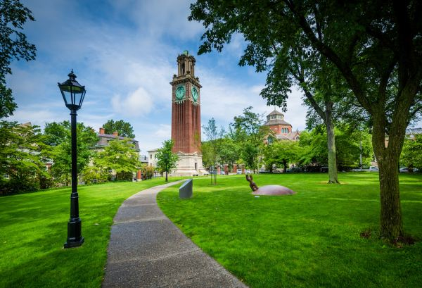 Walkway and the Carrie Tower, on the campus of Brown University, in Providence, Rhode Island.